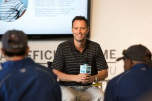 UNIVERSITY PLACE, WA - JUNE 17:  Dr. Gio Valiante speaks with fans at the American Express Championship Experience at the 2015 U.S. Open Chambers Bay Golf Course on June 17, 2015 in University Place, Washington.  (Photo by Suzi Pratt/Getty Images for American Express)